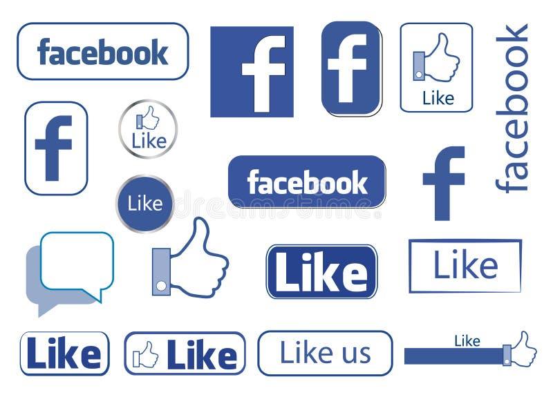 Facebook gosta ilustração royalty free