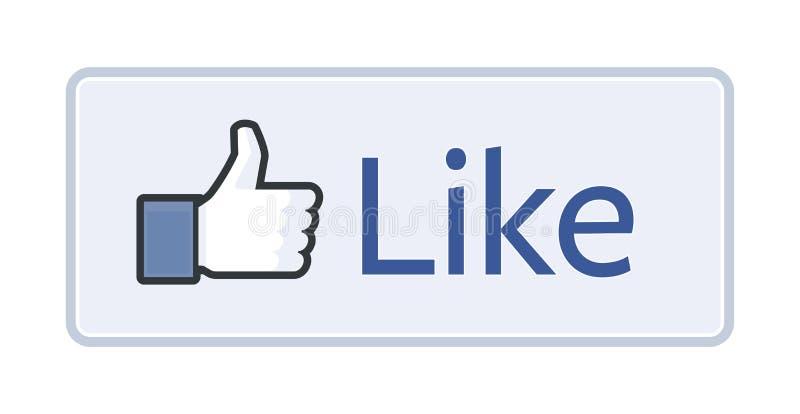 Facebook gosta do botão 2014 ilustração royalty free
