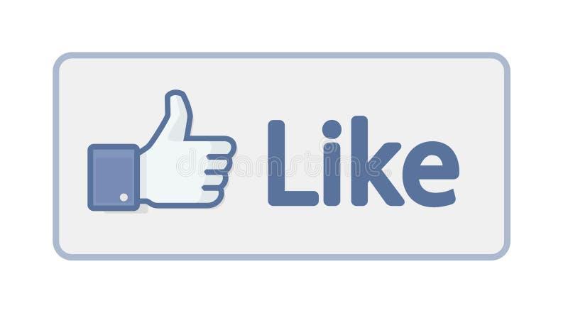 Facebook gosta do polegar acima do sinal ilustração stock