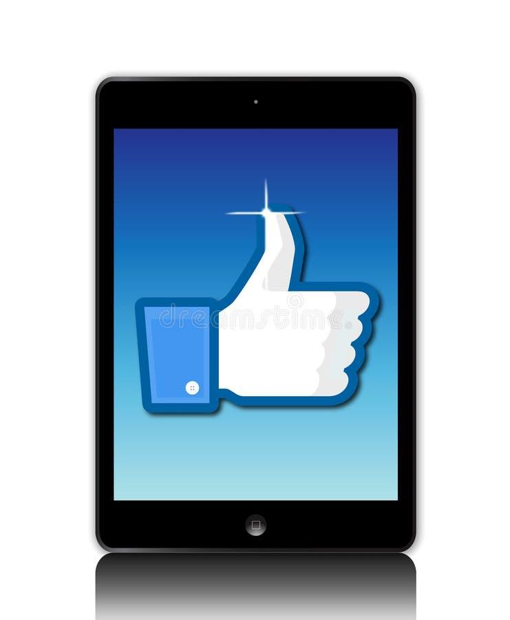 Facebook gosta no ipad ilustração stock