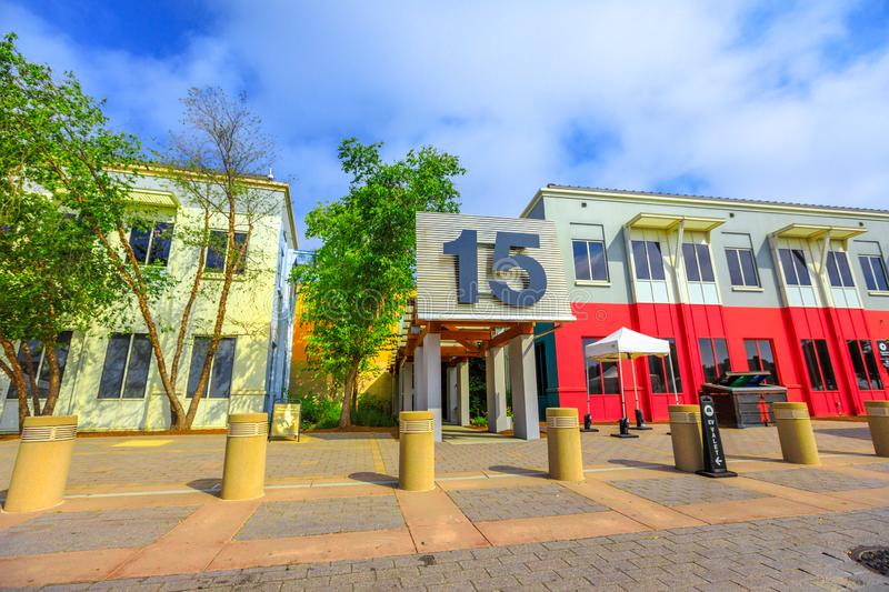 Facebook Headquarters California. Menlo Park, California, United States - August 13, 2018: entrance building 15 campus of Facebook Headquarters, Silicon Valley royalty free stock photography