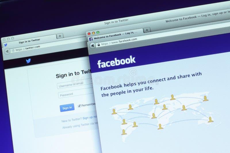 Facebook i świergot magistrali webpage obrazy royalty free