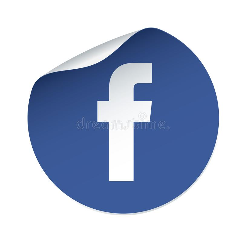 Facebook icon and blue vector sticker royalty free illustration