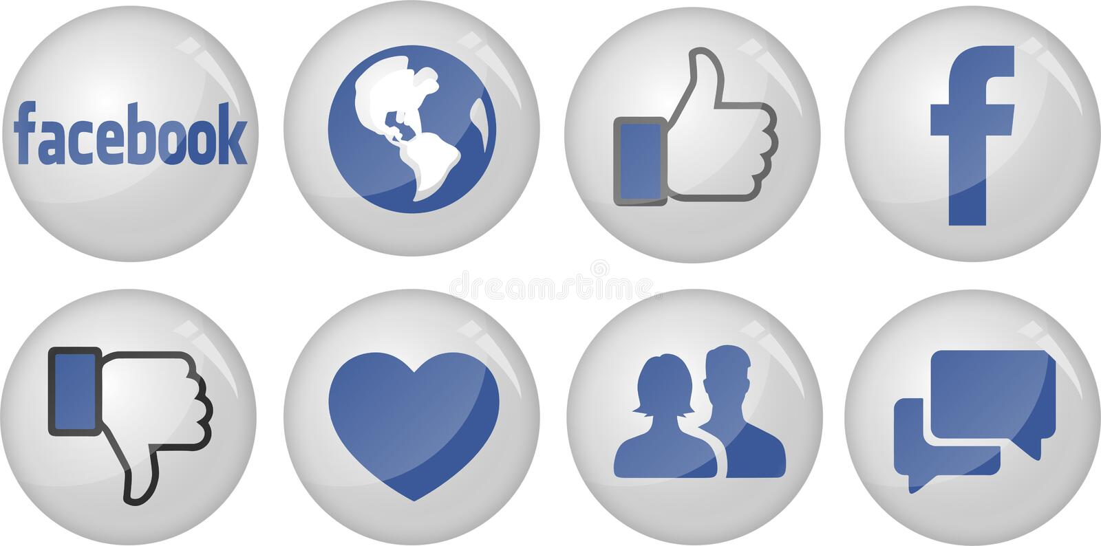 Facebook Icon Collection. Glass type vector facebook icon collection also can use for badge or banner stock illustration
