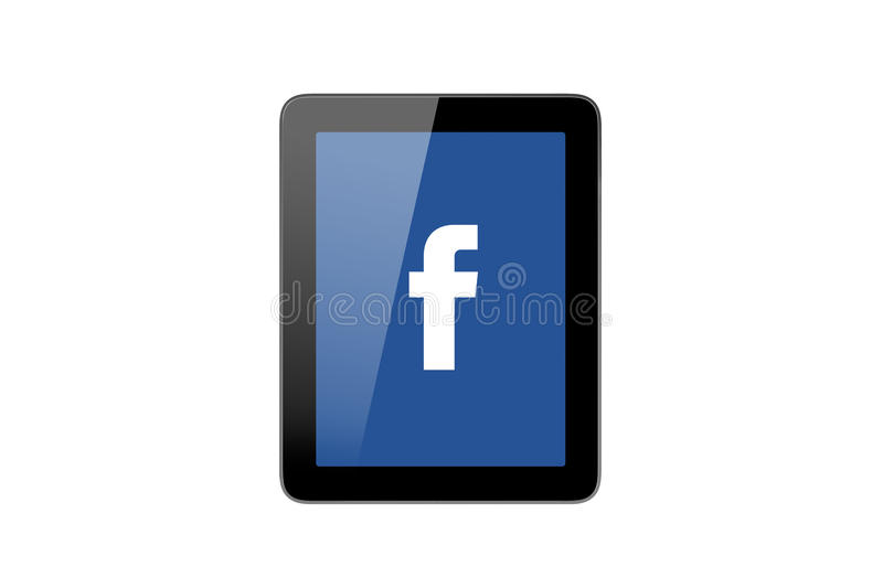 Facebook Icon on Tablet Pc. ISTANBUL, TURKEY - MAY 2, 2015: Close up front view of popular social media website facebook which was established in 2004 by Mark stock photography