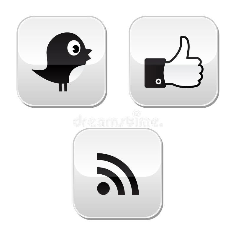 facebook ikon medialnych rss ogólnospołeczny świergot royalty ilustracja
