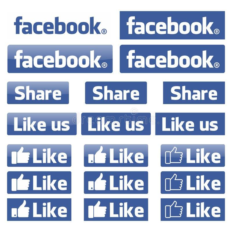 Facebook-Ikonenvektor stock abbildung