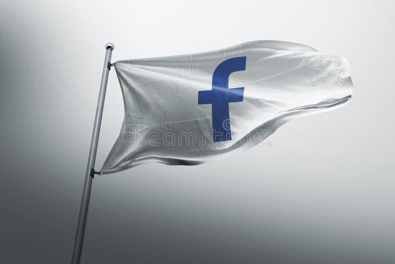 Facebook photorealistic flag editorial vector illustration