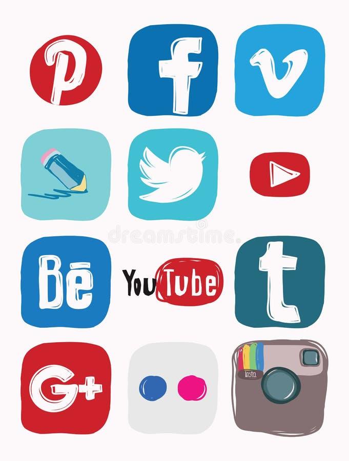 Facebook, instagram, Google más el icono de los medios sociales, garabato del color libre illustration