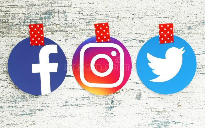 Facebook, Instagram i Twitter round ikony, obraz royalty free