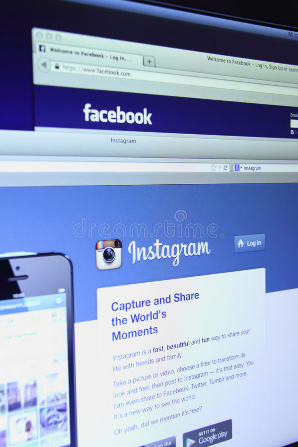 Facebook and Instagram main webpage stock images