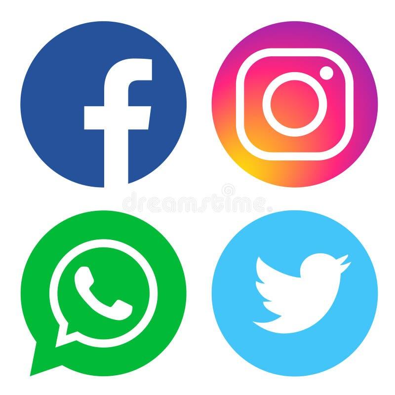 Facebook Whatsapp Twitter And Instagram Logos Editorial Stock