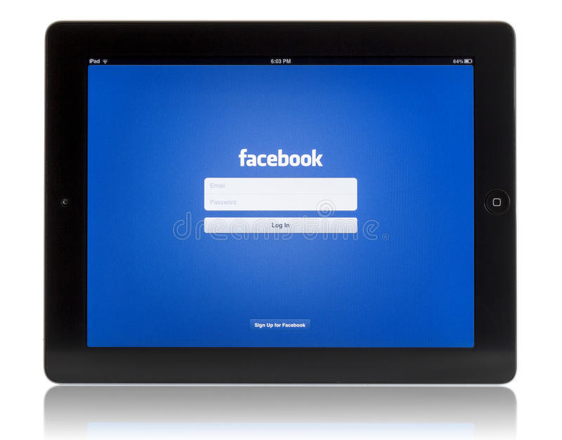 Download Facebook on iPad 3 editorial stock photo. Image of application - 26357523