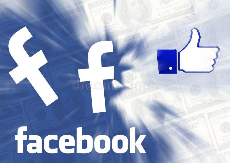 Facebook kciuka gotówki błękita tło ilustracja wektor