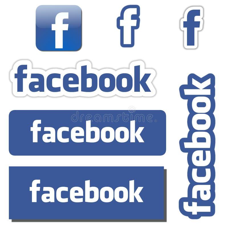 Facebook knappar vektor illustrationer