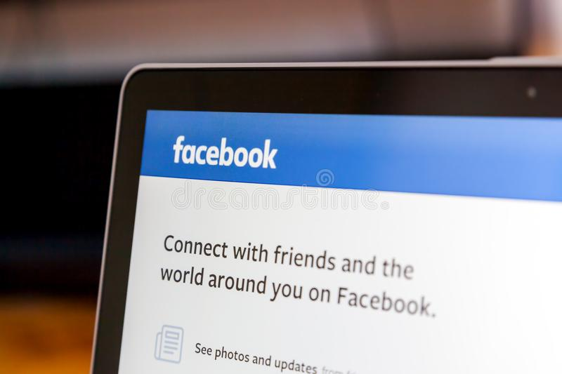 Facebook on laptop. June 25, 2018 Zagreb, Croatia, Longing on web application Facebook on laptop. Facebook is an American online social media and social royalty free stock photo