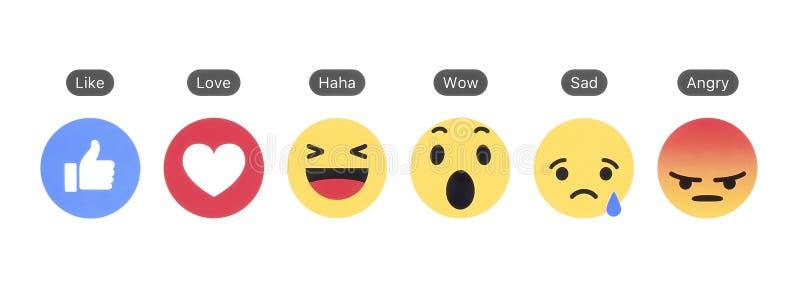 Facebook le gusta el botón y de las reacciones comprensivas de Emoji imágenes de archivo libres de regalías