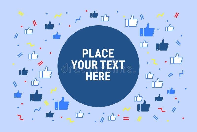 Facebook le gusta el fondo del concepto - medios red social abstracta stock de ilustración