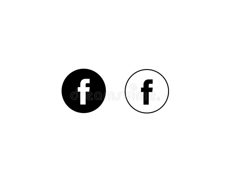 Facebook letter F icon social media on white background vector royalty free illustration