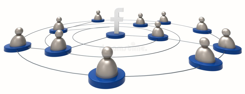 Facebook-/Leuteikonen Alle auf weißem Hintergrund Illustrativ redigieren Sie stock abbildung