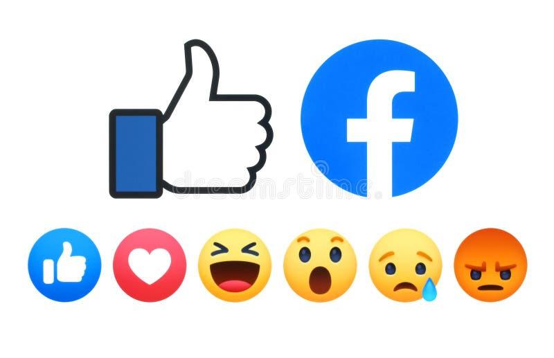 Facebook like button 6 Empathetic Emoji Reactions. Kiev, Ukraine - May 02, 2019: New Facebook like button 6 Empathetic Emoji Reactions printed on white paper vector illustration