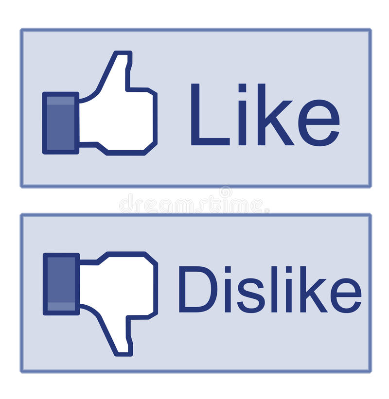 Facebook Like Dislike Thumb Up Sign. Illustration of the facebook thumb up and thumb down hands. Isolated on white