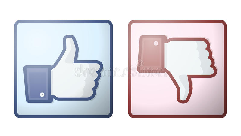 Facebook Like Dislike Thumb Up Sign royalty free illustration
