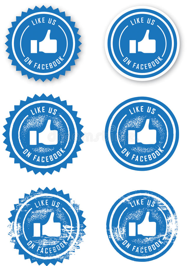 Facebook Like Stamps. Two different Facebook like stamps, each offered in three different styles. Clean decal, distressed, and heavily worn