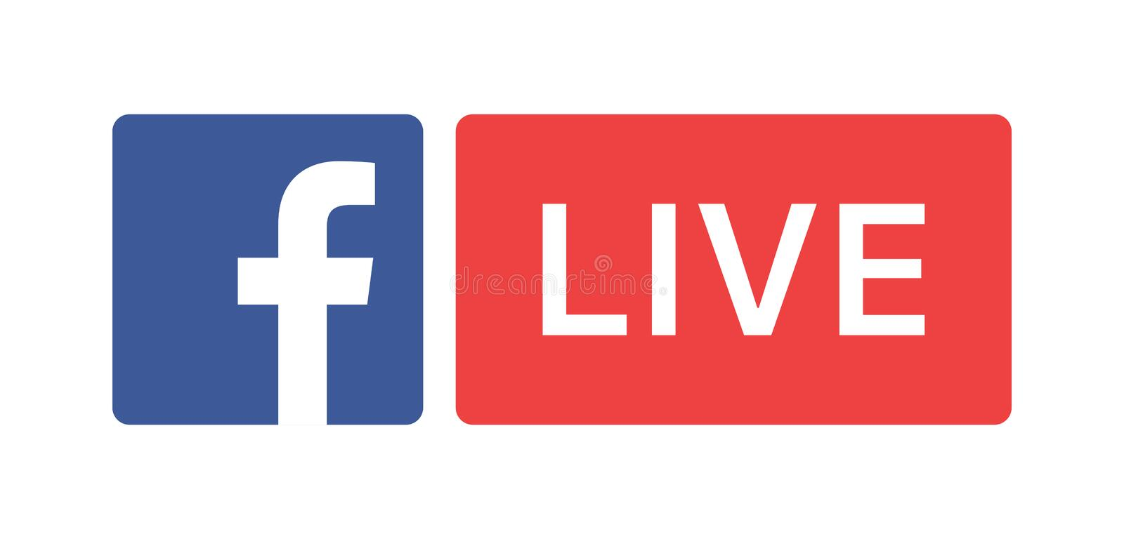 Facebook live. Simple vector filled flat facebook live icon logo isolated on white background. social media icon stock illustration
