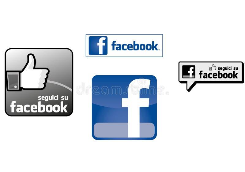 Facebook logo i ikony royalty ilustracja