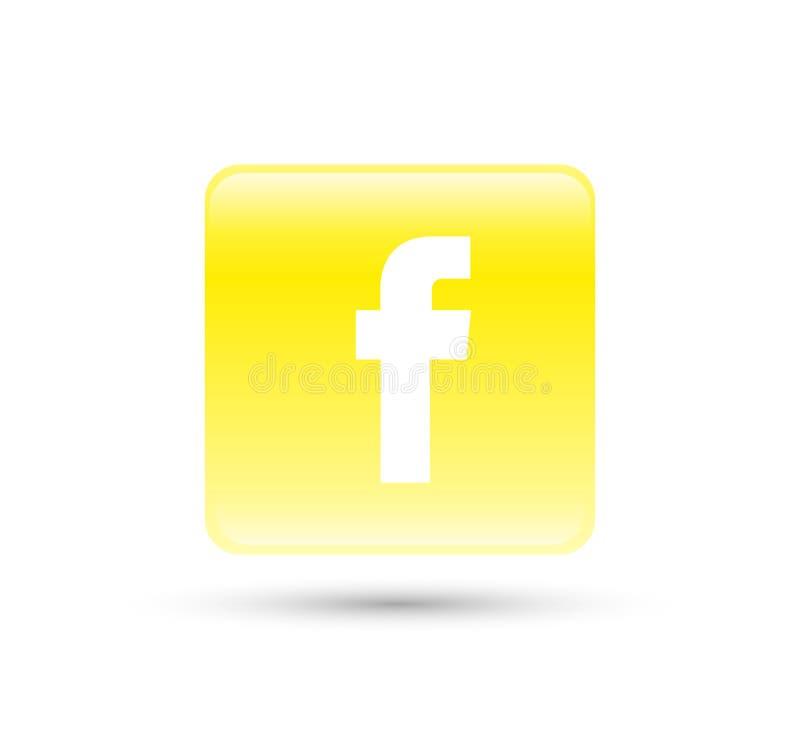 Facebook logo ikony wektor z żółtą gradientową projekt ilustracją ilustracja wektor