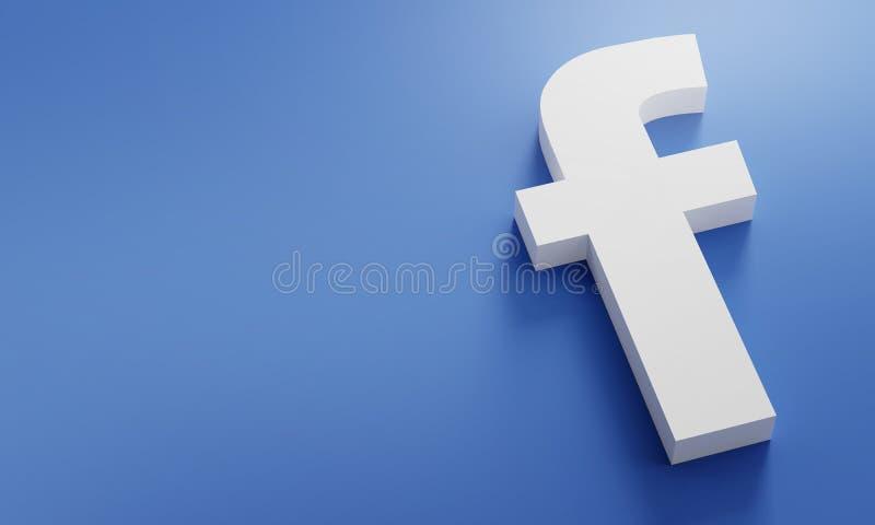 Facebook Logo Minimal Simple Design Template. Copy Space 3D stock photography
