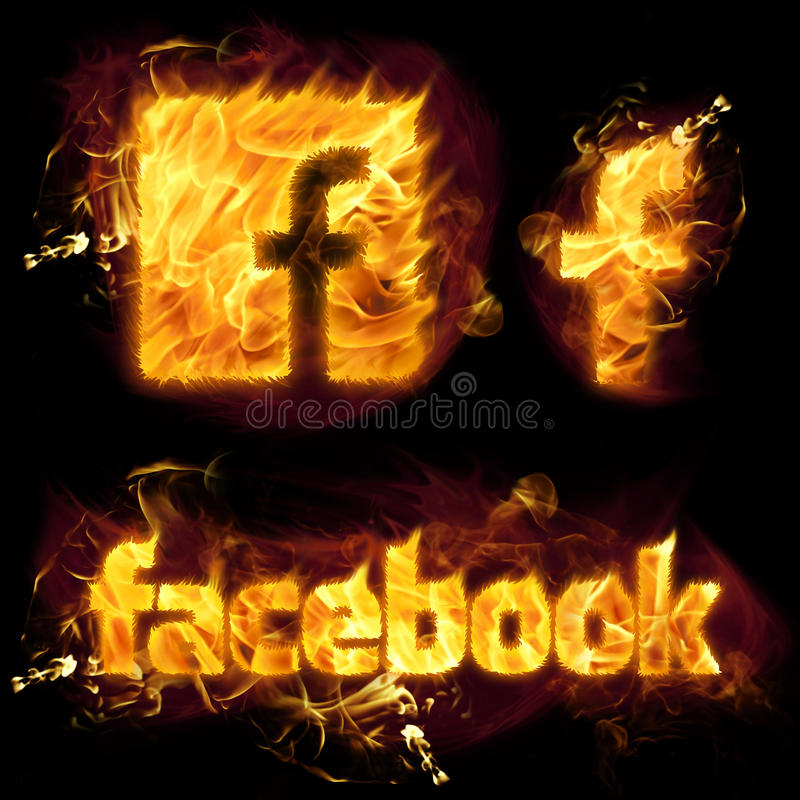 Facebook logo na ogieniu royalty ilustracja