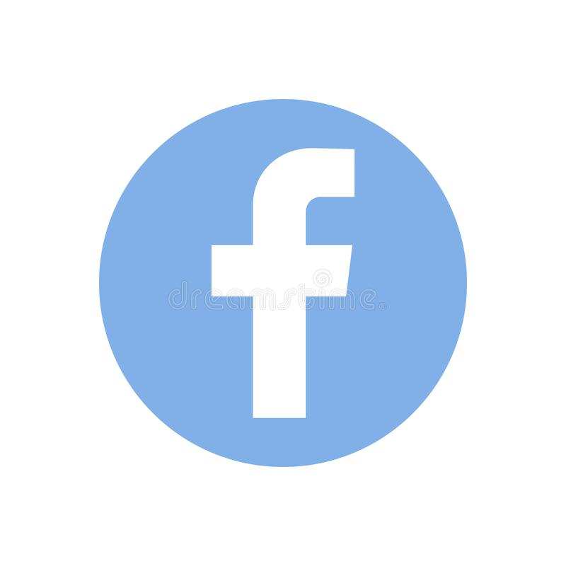 Facebook, logo of social network has printed on white paper, background. stock illustration