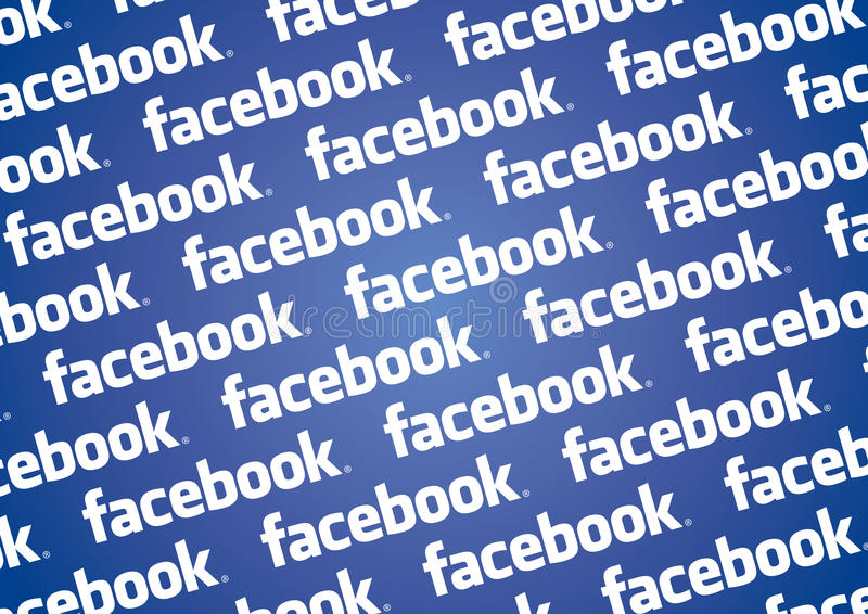 Facebook logo wall. Wall backgroud texture with facebook logo