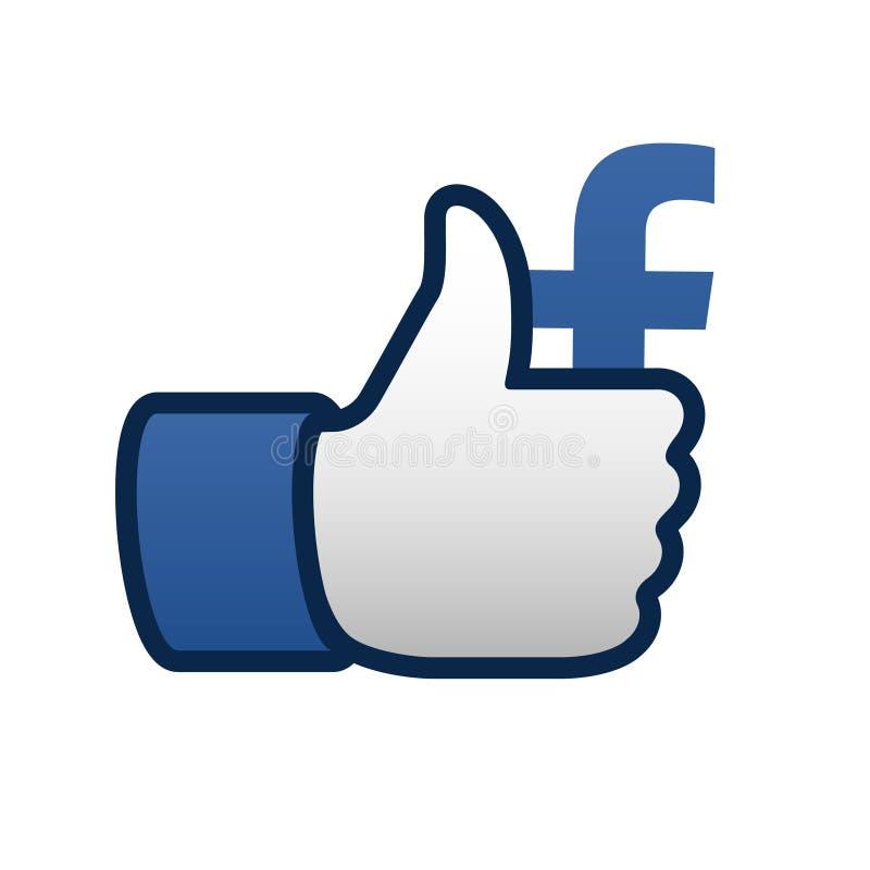 Facebook lubi aprobata symbolu ikonę royalty ilustracja