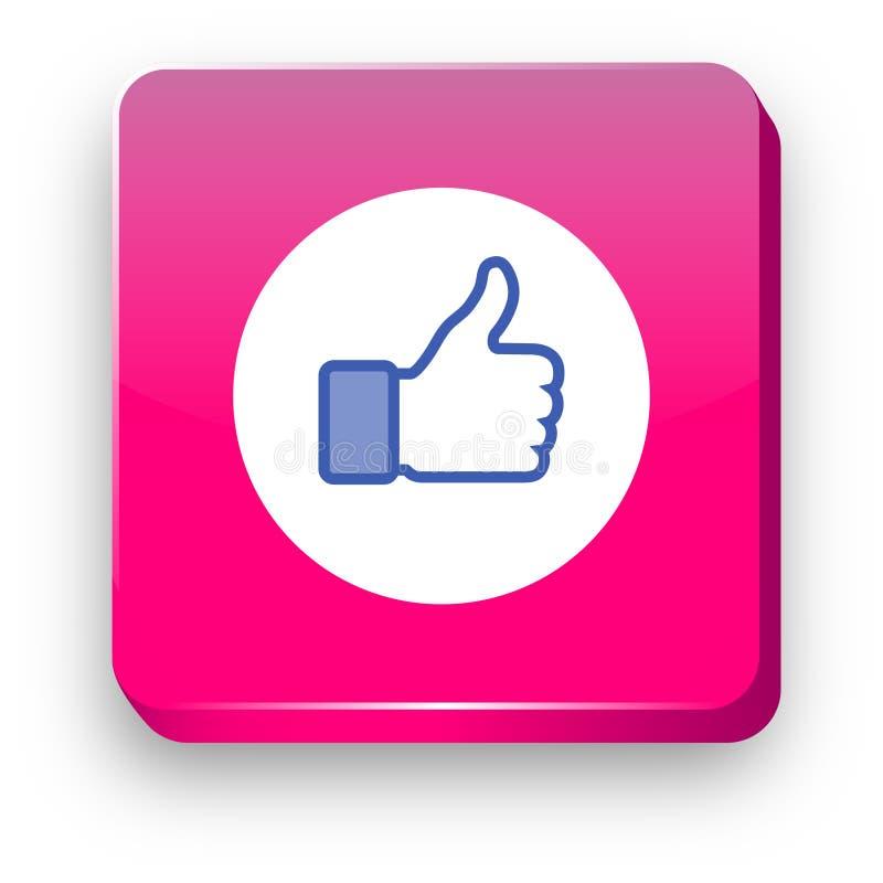 Facebook Lubi 3d wektoru ikonę Facebook kciuk lubi! royalty ilustracja