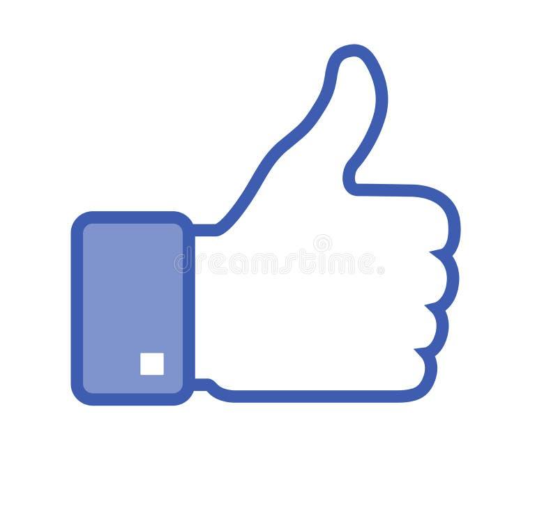 Facebook Lubi Wektorową ikonę ilustracja wektor