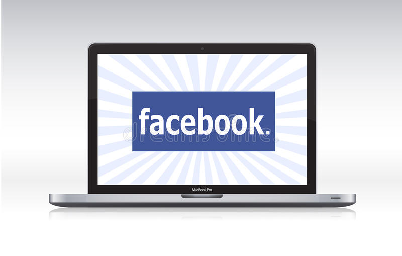 Facebook on macbook pro vector illustration
