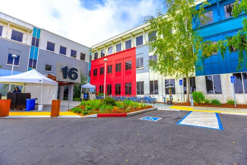 Facebook Menlo Park. Menlo Park, California, United States - August 13, 2018: main campus of Facebook Headquarters, building 16, Silicon Valley, San Francisco stock photography