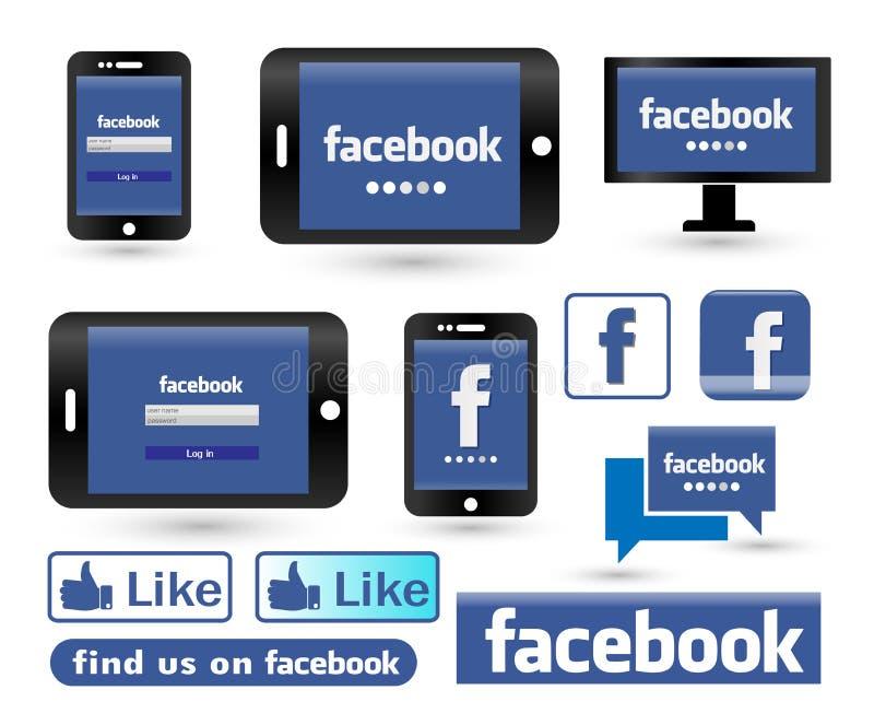 Facebook nazwy użytkownika ekran na telefonu i stołu komputeru osobistego ikony logu ilustracja wektor