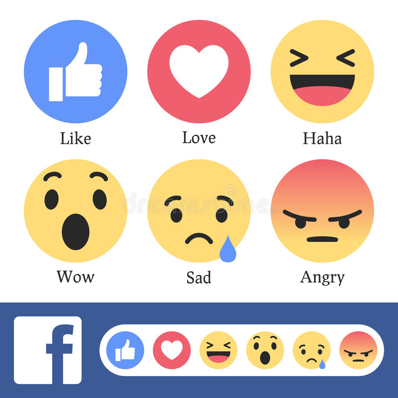 Facebook New Like or Reaction Buttons. Collection with the new six like or reaction buttons used on Facebook. Eps file available