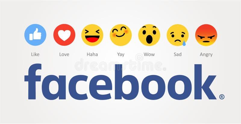 Facebook nieuw als knopen stock illustratie