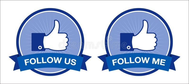 Facebook nous suivent/me suivent des boutons - rétro   illustration de vecteur
