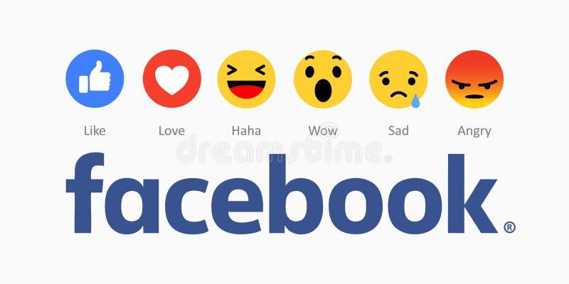 Facebook novo como ícones dos botões ilustração royalty free