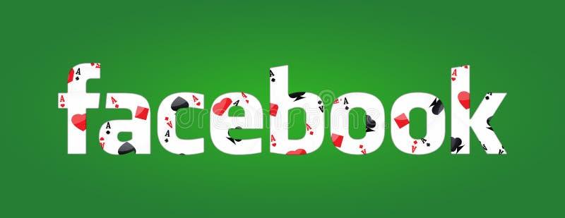 Facebook och pokerlek stock illustrationer