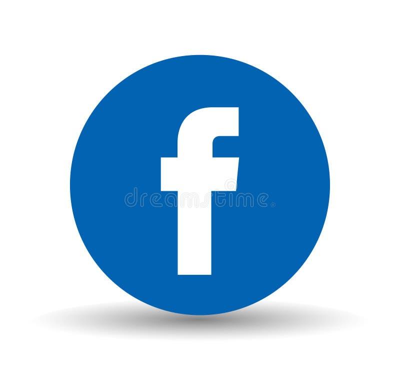 Facebook Ogólnospołeczny Medialny logo w okręgu ilustracja wektor