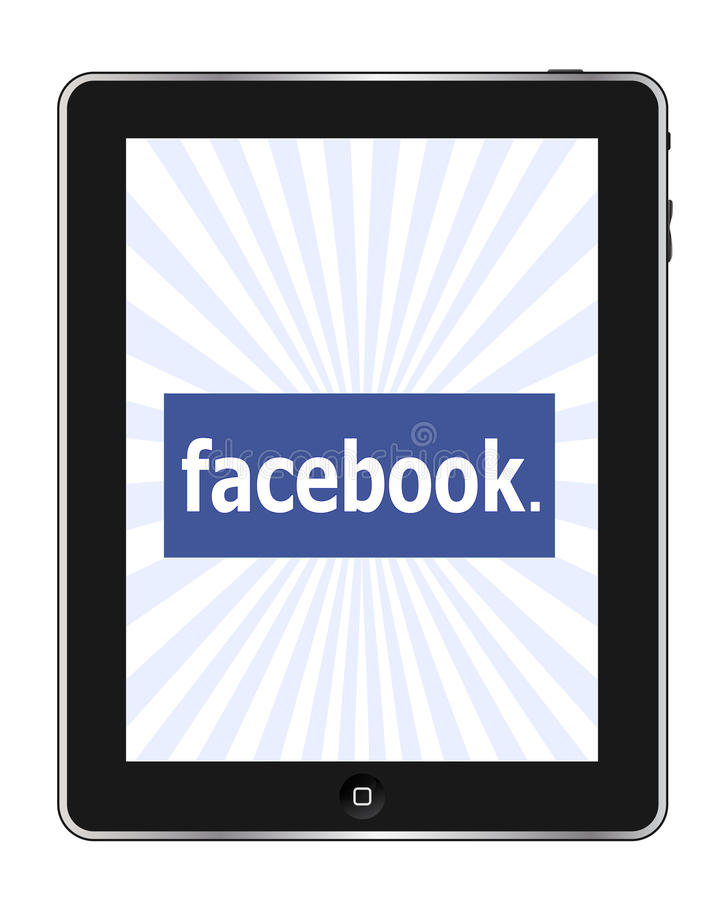 Facebook op Ipad stock illustratie