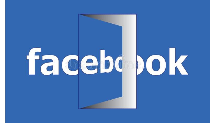 Facebook otwarte drzwi - Ogólnospołeczny Medialny Facebook Otwarty Dla Każdy ilustracji