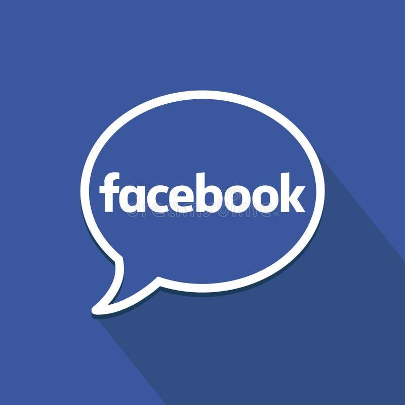 Facebook płaska ikona z mowa bąblem Czyści wektorowego symbol 3d medialnego modela znaka ogólnospołeczny biel ilustracja wektor
